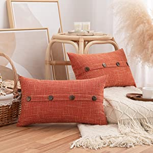 Pack of 2 Burlap Linen Throw Pillow Covers with Buttons, Rustic Farmhouse Decorative Vintage Lumbar Pillowcases Cushion Throw Pillows for Couch Sofa Living Room Chair Decor, Orange, 12 x 20 Inch