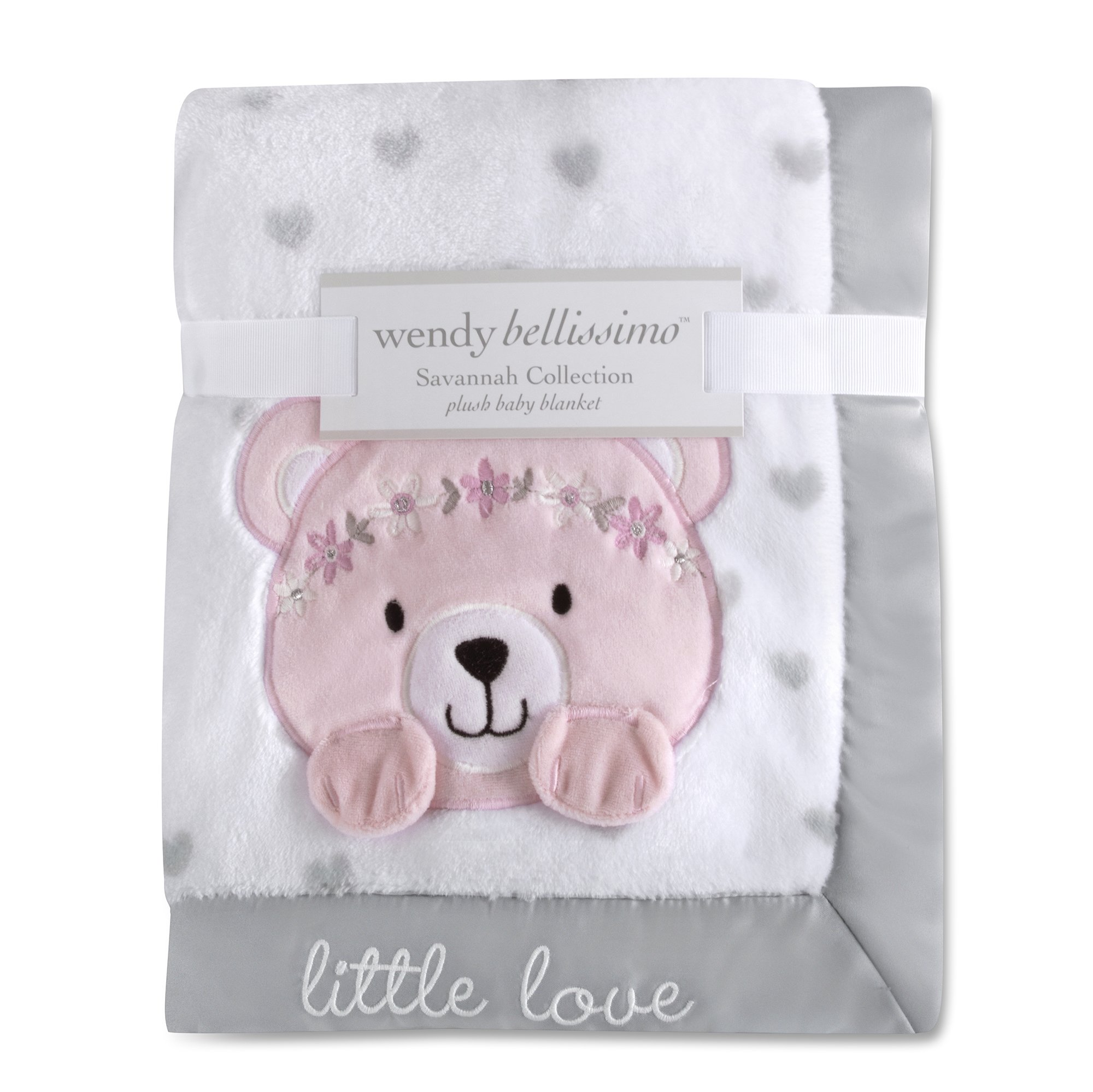 Wendy Bellissimo Super Soft Plush Baby Blanket - Bear Baby Blanket from the Savannah Collection in White & Grey