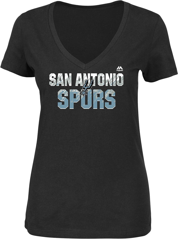 Medium NBA San Antonio Spurs Womens Get Aggressive Short Sleeve V-Neck Tee Black