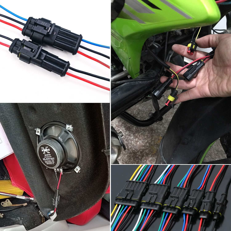 Kabel Steckverbinder Stecker 1//2//3//4//5//6 Pin Way f/ür Motorrad Roller Boote WiMas 240PCS Auto wasserdichte Steckverbinder