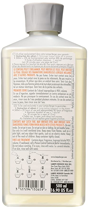 Amazon.com: Lampe Berger, Parfum De Maison, 500ml/16,9 onzas ...