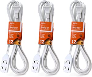 3-Pack Luxtronic White Color Extension Cord with Safety Sliding Window (12 Feet)