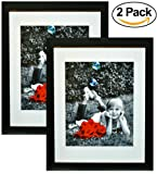 """Amazon Price History for:11x14 Inch Picture Frame Black (2-pack) - Glass Front Cover - Displays an 11 by 14"""" Picture w/o Mat or an 8x10 Photo with Mat - Vertical or Horizontal Mounts & Easy To Hang - No Hardware to Install."""