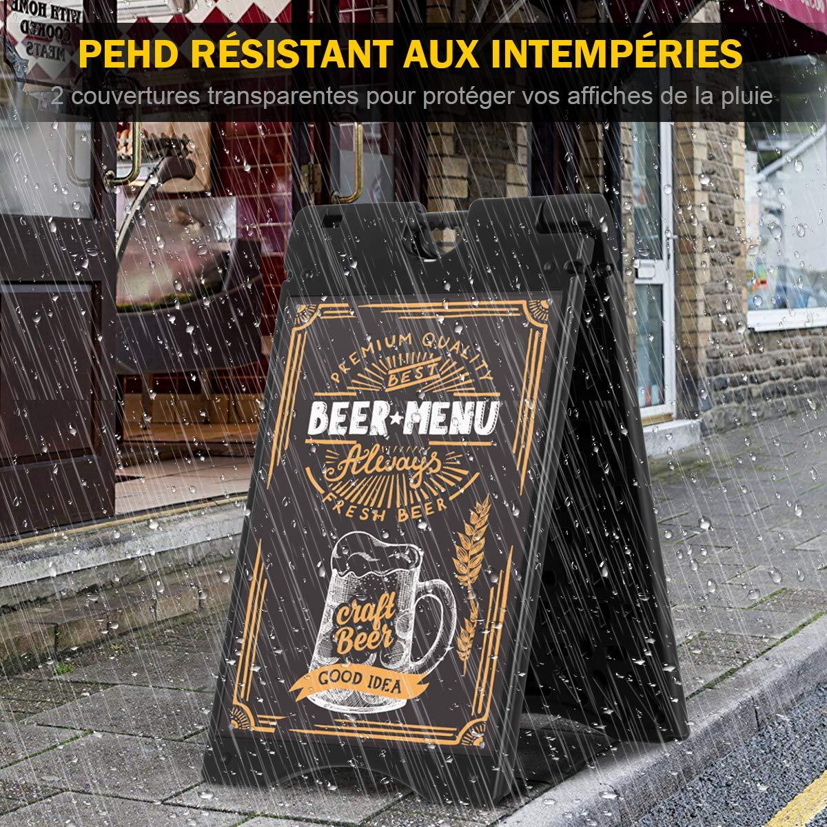 Noir COSTWAY Porte-Affiche Stop Chevalet Trottoir HDPE Panneau d/' Affichage avec 2 Films en Plastique Robuste 95x61x7.8cm