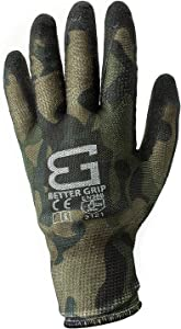 Better Grip Ultra-Thin BGSMT1-9L Nylon Sandy Latex Coated Work Gloves, 4 Pairs/Pack (Large, Military Brown)