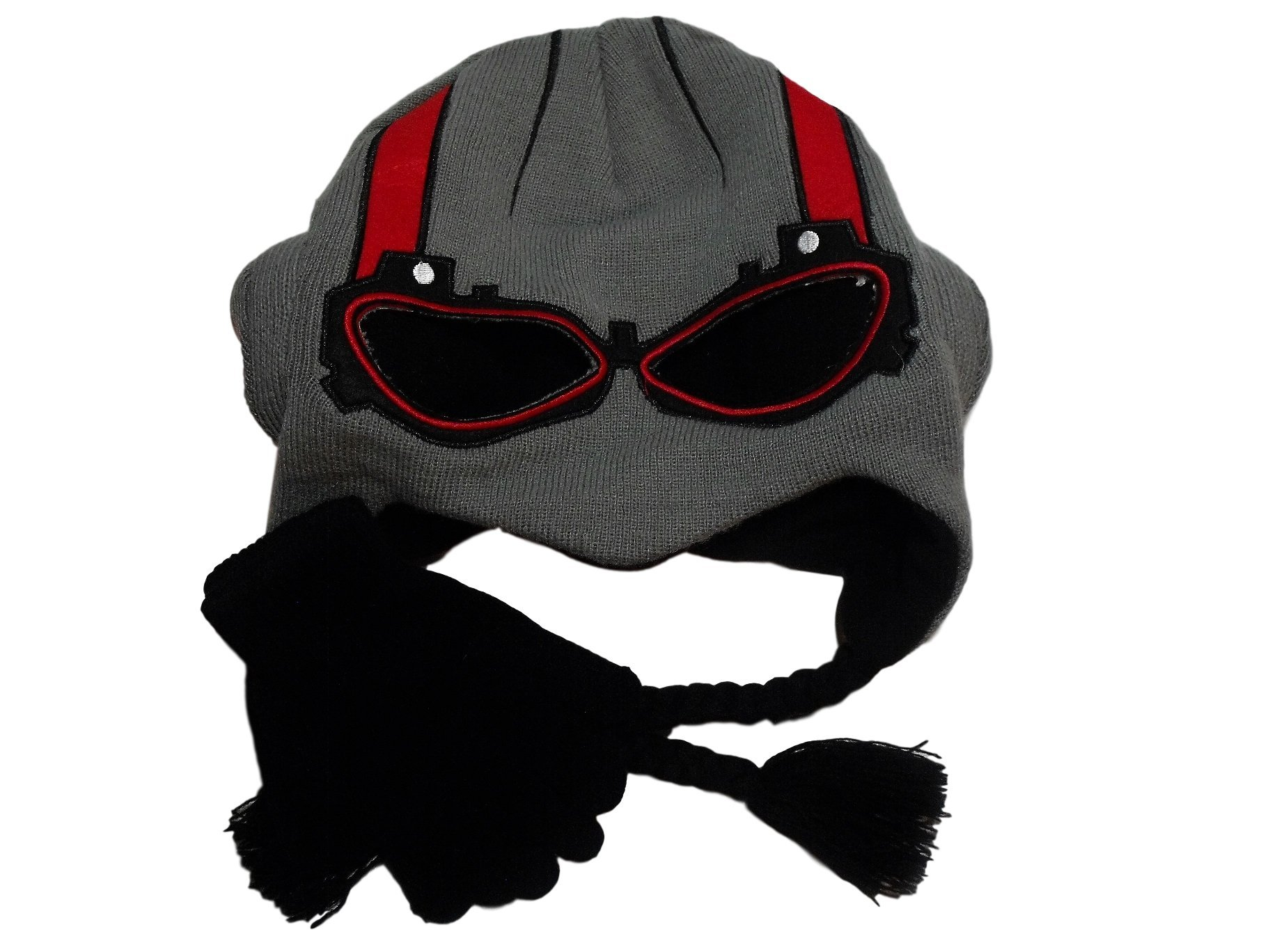 Marvel Ant Man Laplander Peruvian Knit Beanie Hat Black Gloves Set