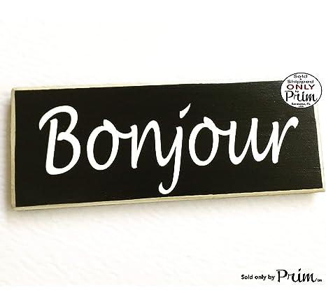 Amazon.com: Bonjour Francés rústico de bienvenida Letrero De ...