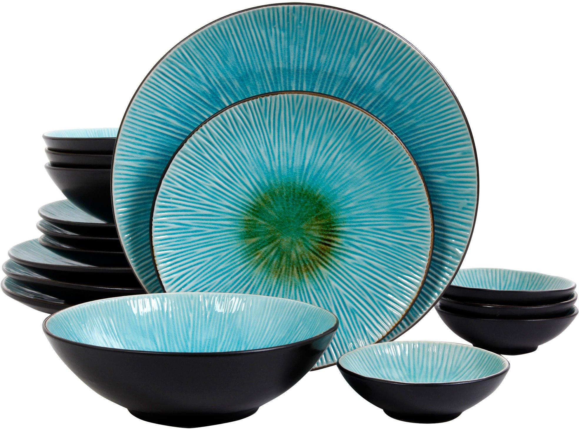 Gibson Shangri-La Court Turquoise Double Bowl 16-Piece Set