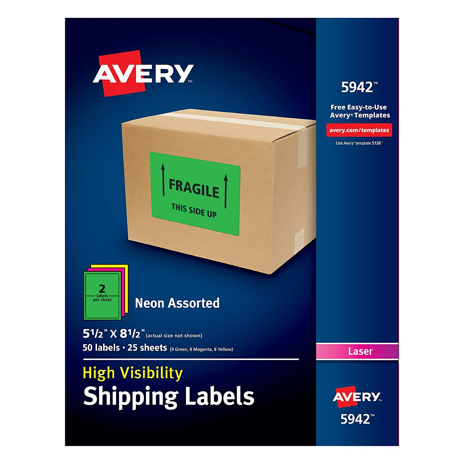 Avery High-Visibility Neon Shipping Labels for Laser Printers Assorted Colors, 5-1/2 x 8-1/2, Pack of 200 (5946) 5-1/2 x 8-1/2 Avery Products Corporation 05946