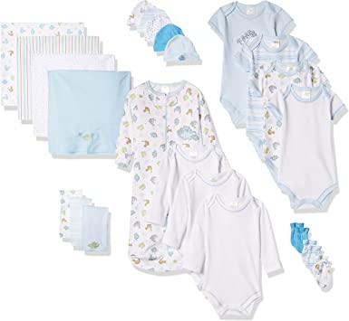 Baby Neutral Boys Girls Layette Set Jungle Animals 5 Piece Outfit /& Gift Bag