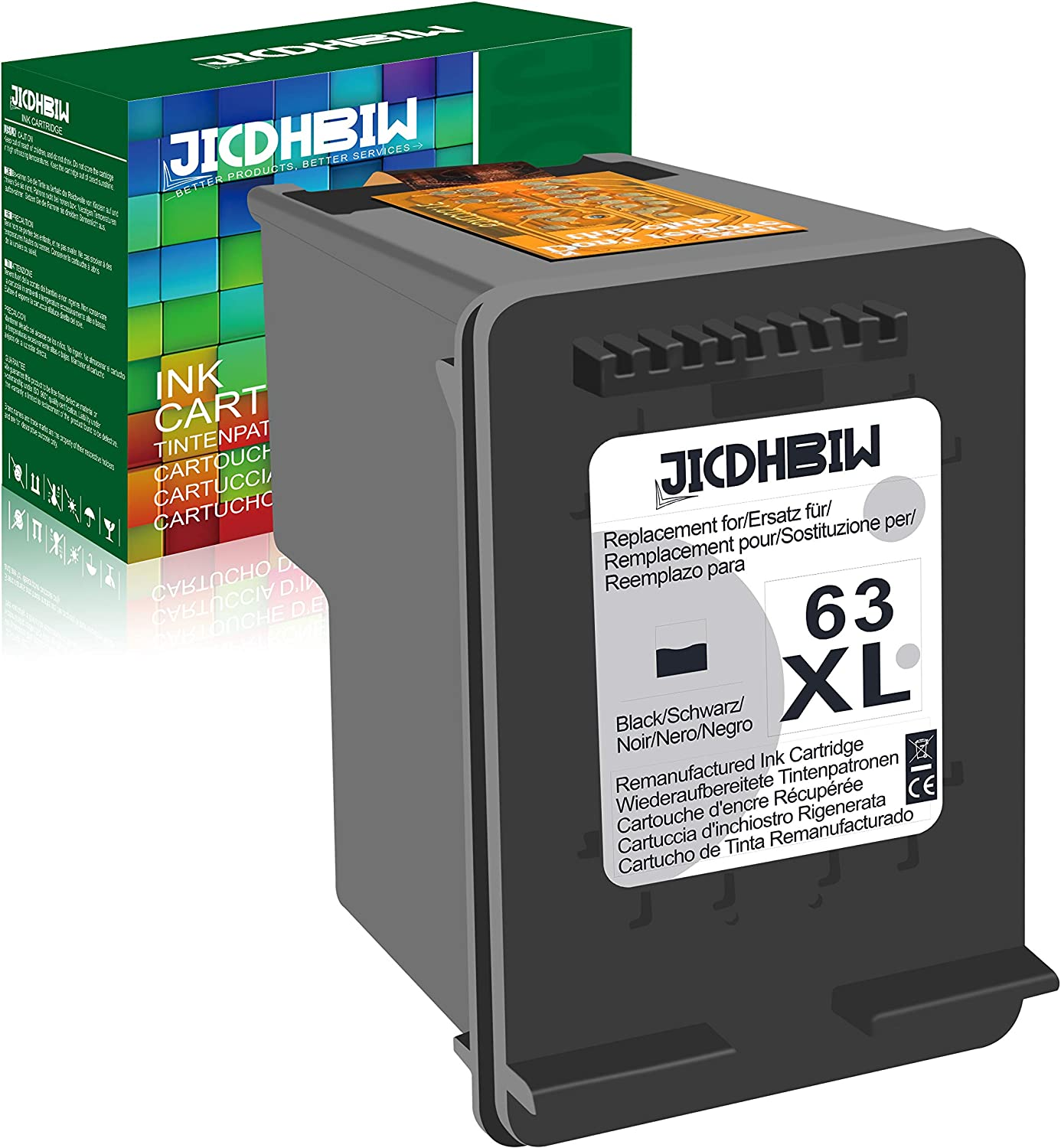 JICDHBIW Remanufactured Ink Cartridge Replacement for HP 63XL 63 XL Black, High Yield 750 Page, Upgraded Chip Fit with Envy 4520 OfficeJet 3830 5252 4650 5258 4655 DeskJet 3636 1111 3630 1112, 1 Pack