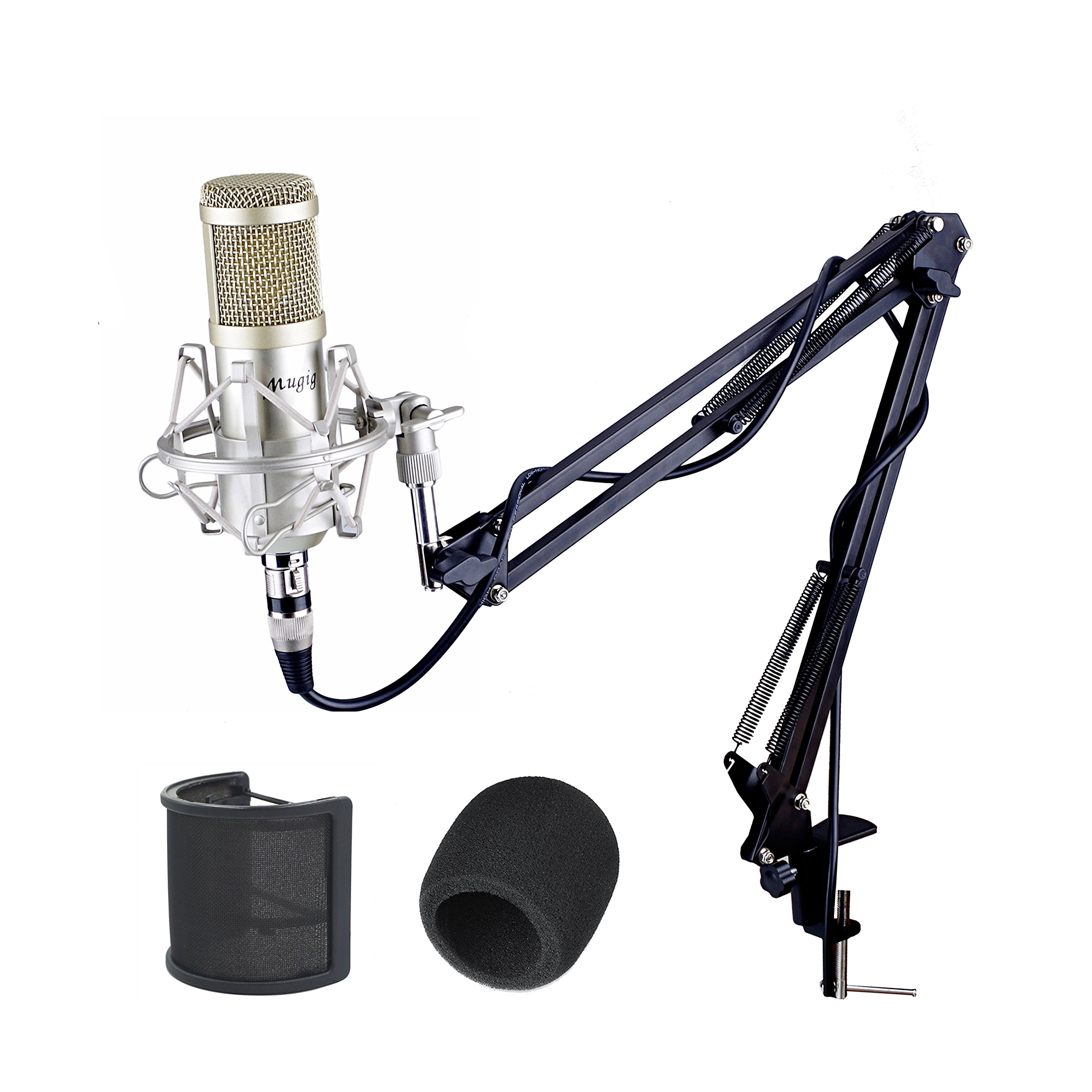 Mugig Condenser Microphone with Microphone Scissor Arm Stand/3.5mm XLR Cable/Shock Mount/Pop Filter for Professional Studio Recording Podcasting Broadcasting, Recording, Singing, Games by Mugig