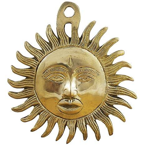 máscara de sol colgando de la pared decoración - sol hecho a mano diseño latónmetal figura