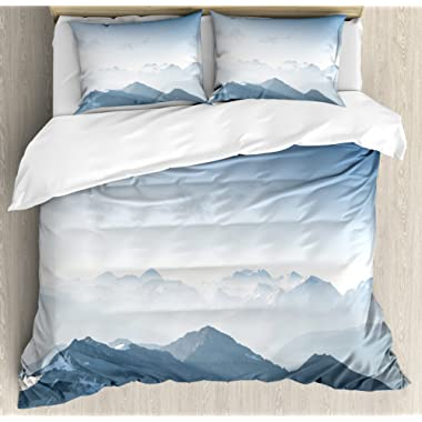 Ambesonne Farmhouse Decor Duvet Cover Set, Fog Morning in Rock Mountain Theme Region in Northern Hiking Climbing Ice Photo, A Decorative 3 Piece Bedding Set with Pillow Shams, Queen/Full, Soft Blue