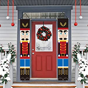 Trubetter Nutcracker Christmas Decorations - Outdoor Xmas Decor - Soldier Model Nutcracker Banners for Front Door Porch Garden Indoor Exterior Kids Party (Blue red)