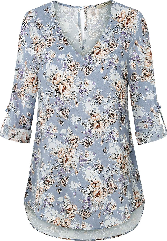 Timeson Women's Lace V Neck Blouses Sleeveless Chiffon Work Shirts