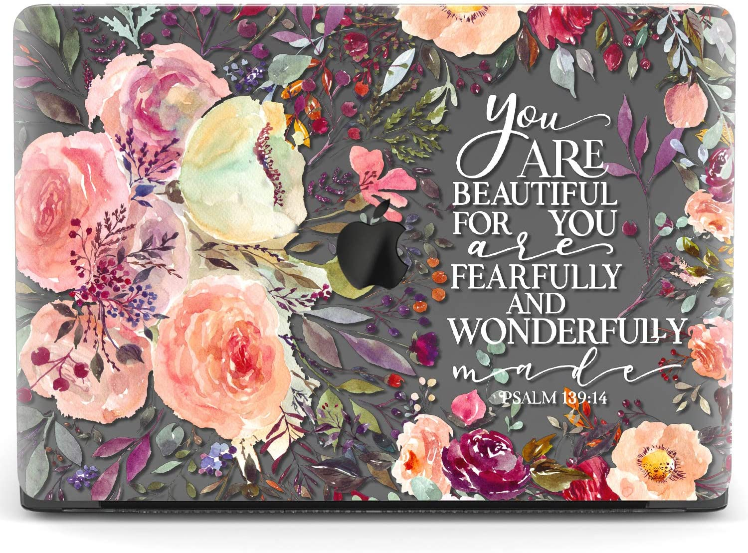 Mertak Hard Case for Apple MacBook Pro 15 2020 Air 13 inch Mac 16 Retina 12 11 2019 2018 2017 Psalm 139:14 Print Plastic Cover You are Beautiful Protective Floral Laptop Bible Verse Clear Saying