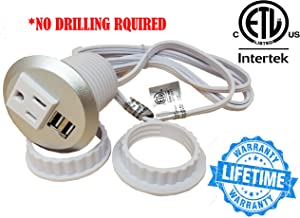 """Desktop Power Grommet Outlet Data Center, 2"""" or 3"""" Hole No Drilling Required, 1 Outlet W/ 2 USB Ports (Silver- 2"""" (No Drilling Required- 6ft Power Cord))"""