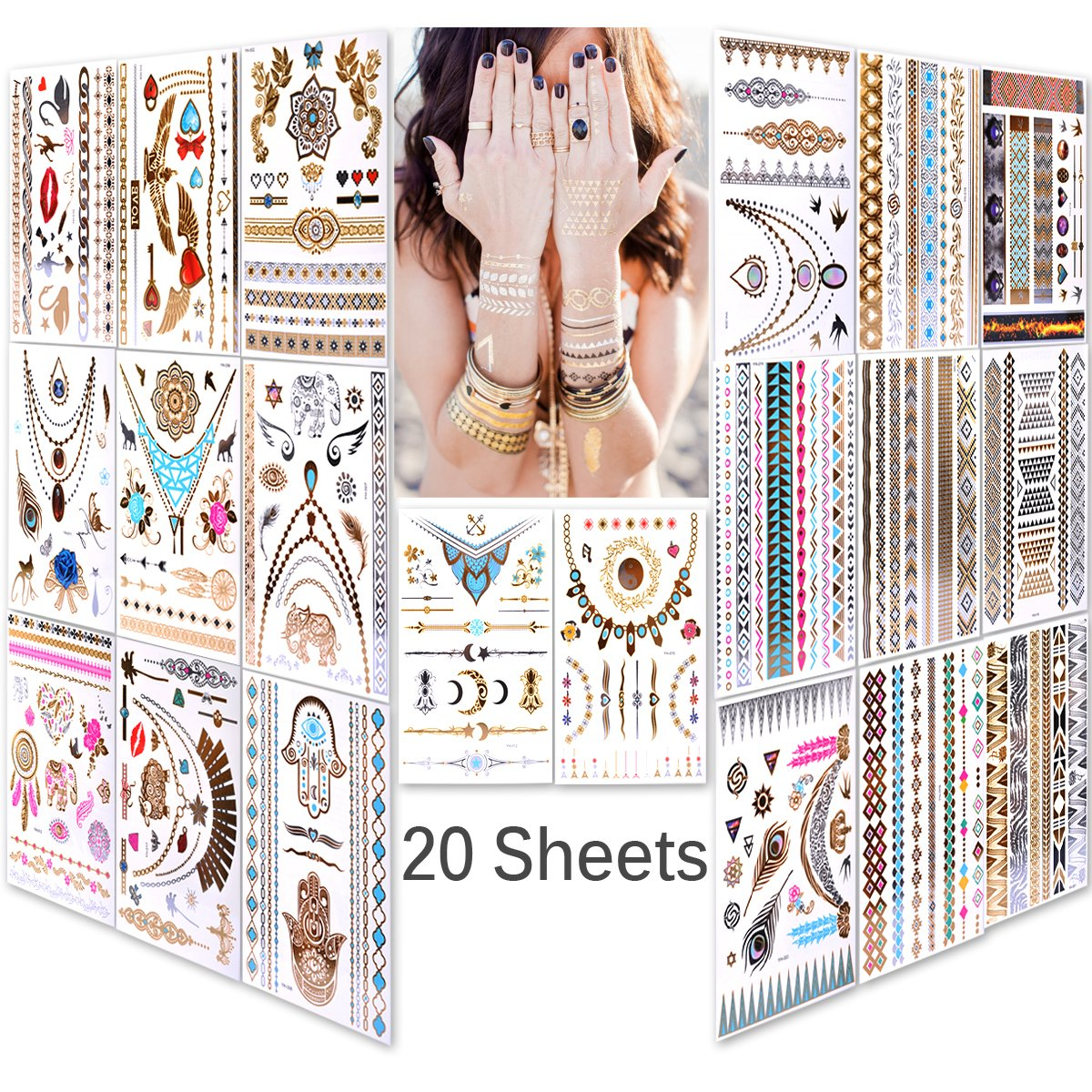 Lady Up 20 sheets 150+ designs Body art Temporary Tattoos Papers Metallic Flash Gold Silver Multi-Colored Waterproof Tattoos for Women Kids & Men 21X15cm/p