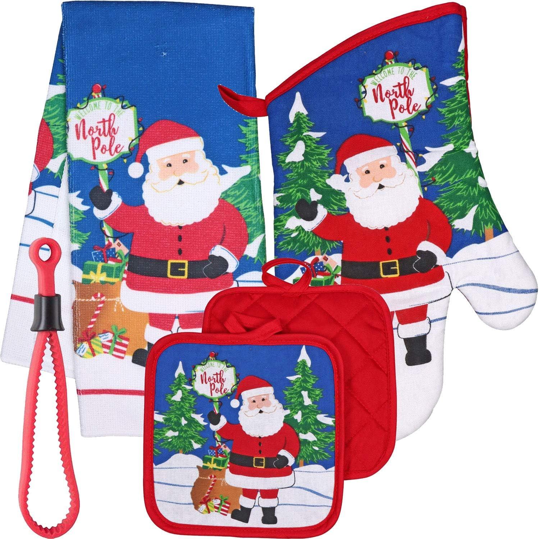 2pc Santa Oven Mitt /& Pot Holder Set Oeko-Tex Cotton St Nicholas Sq NWT