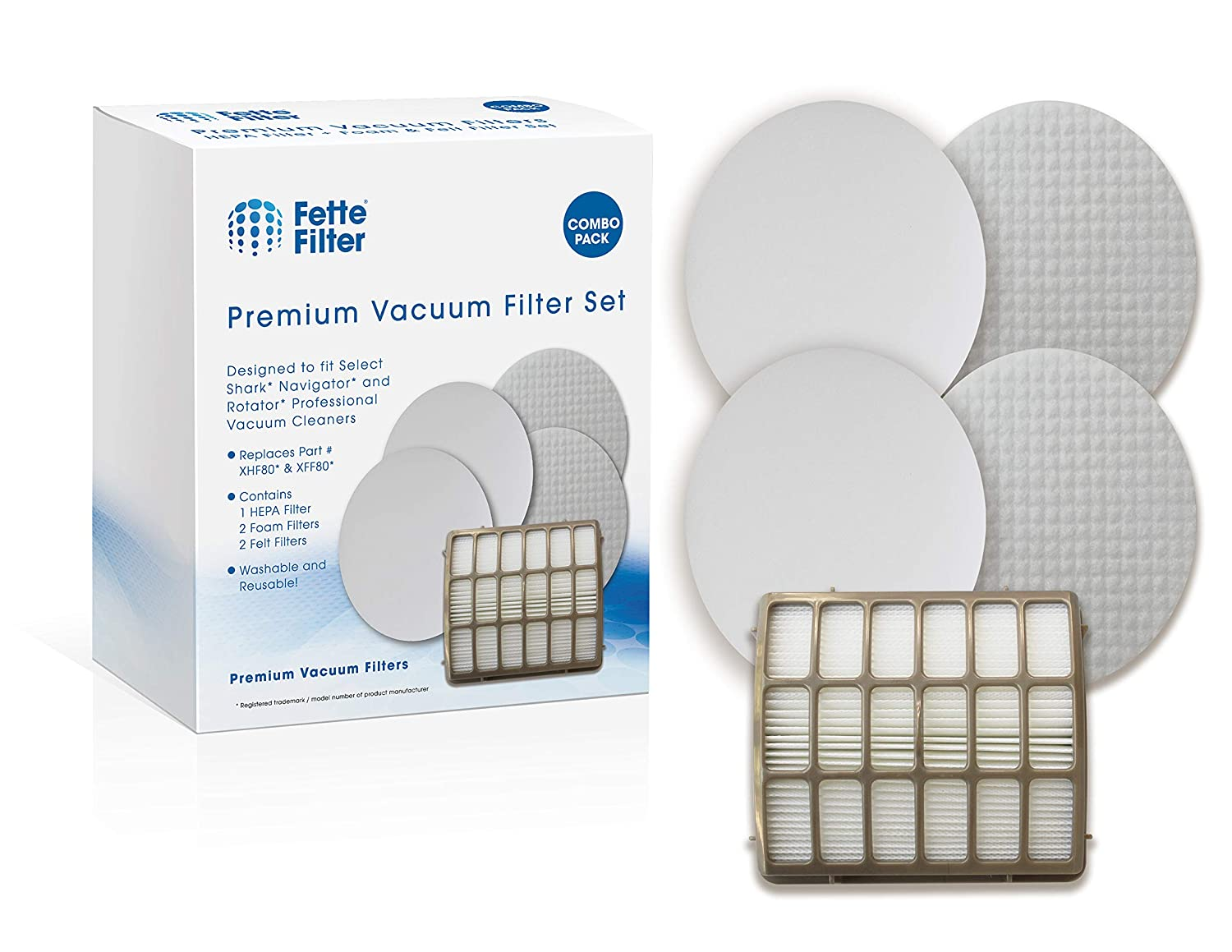 Fette Filter - Vacuum Filters Compatible with Shark Navigator Professional NV70, NV80, NV90, NV95, UV420 Vacuums. Compare to Part # XFF80 & XHF80. 1 HEPA Filter Plus 2 Foam & Felt Filter Kit.