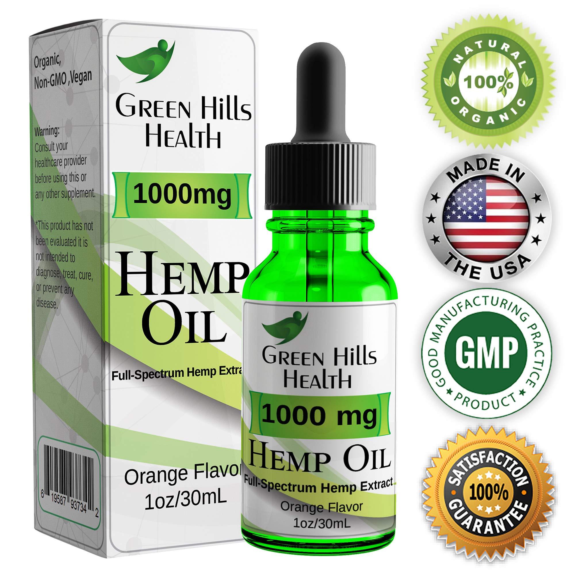 Hemp Oil 1000MG Full Spectrum Premium Hemp Oil for Pain Anxiety, Stress and Inflammation. Improves Mood Sleep Skin & Hair Organic Vegan Non-GMO Orange Flavor 1 Fl Oz Low Intro Price