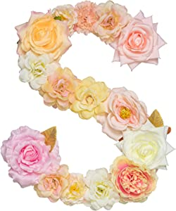 "ZHENHAN Artificial Decorative Letter with Flowers, Pink, 12.2""x9.4""x0.6"", Letter with Fake Flowers/Floral Decor/for Special Occasion/Event/Home Decorating (Letter, S)"
