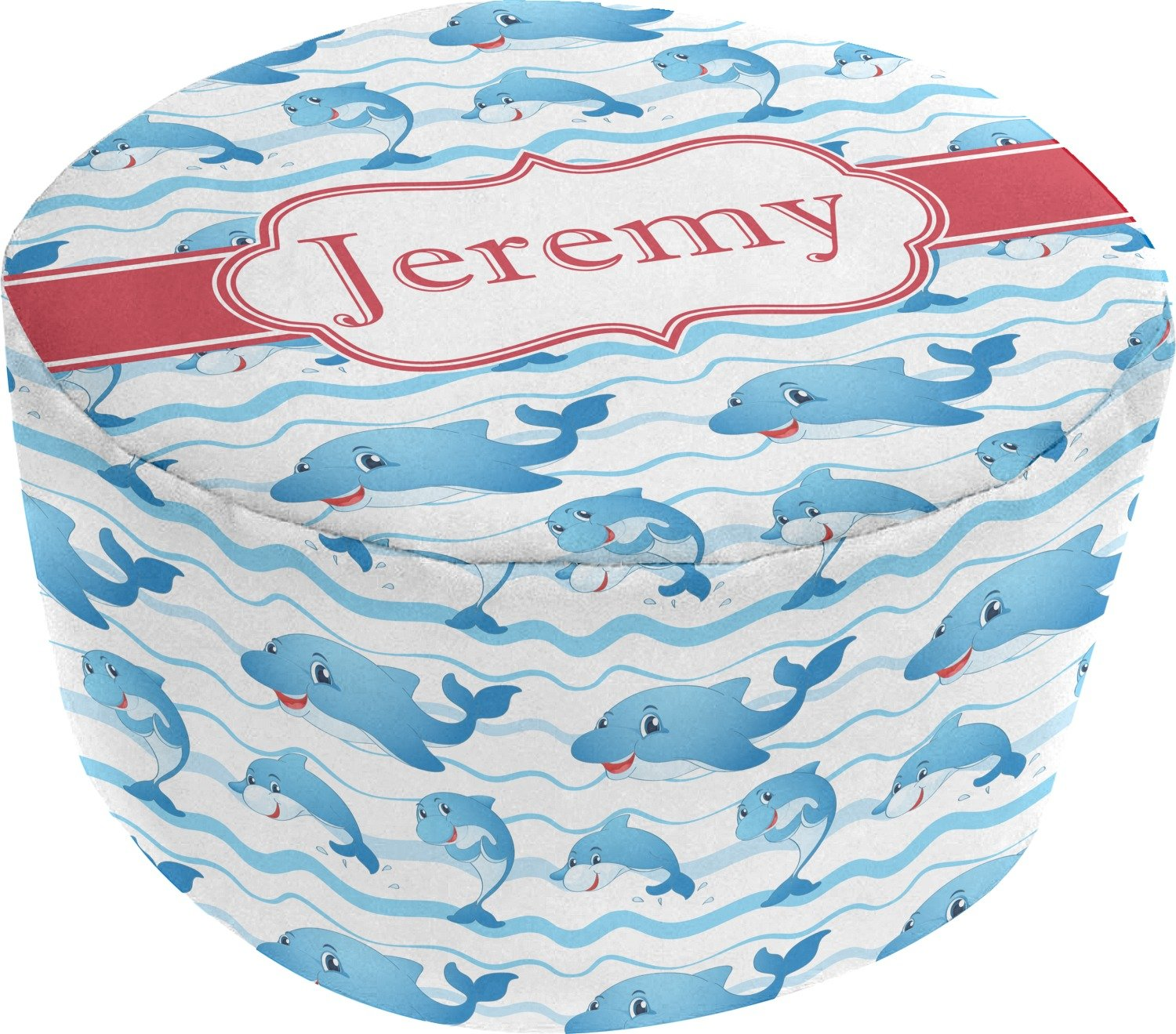 Dolphins Round Pouf Ottoman (Personalized)
