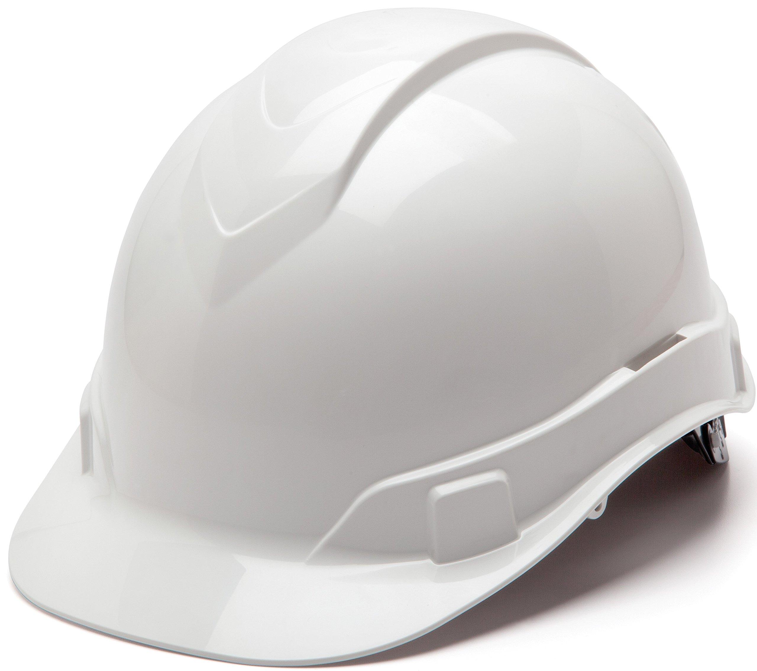 Pyramex Ridgeline Cap Style Hard Hat, 6 Point Ratchet Suspension, White