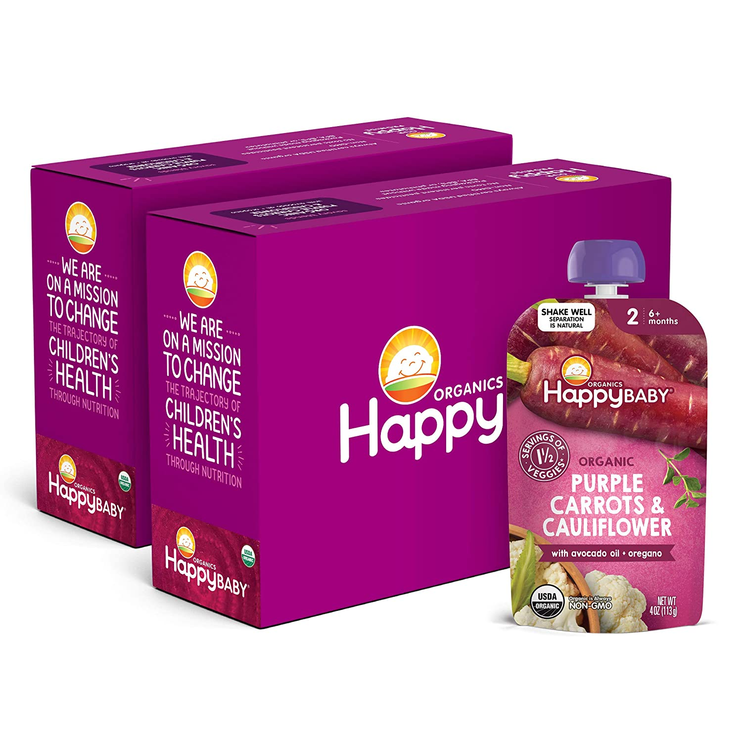 Happy Baby Organics Savory Blends Stage 2 Baby Food, Purple Carrots & Cauliflower with Avocado Oil + Oregano, 4 Ounce (Pack of 16) packaging may vary