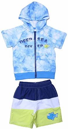 de390cbb7a WIPPETTE Little Boys 2T-4T Cover up Terry Hoodie & Striped Swim Shorts  Trunks Blue