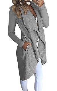 6743ca3d3495 ECOWISH Damen Maxi Offene Cardigan Strickjacke Asymmetrisch Strickmantel  Mantel mit Tasche