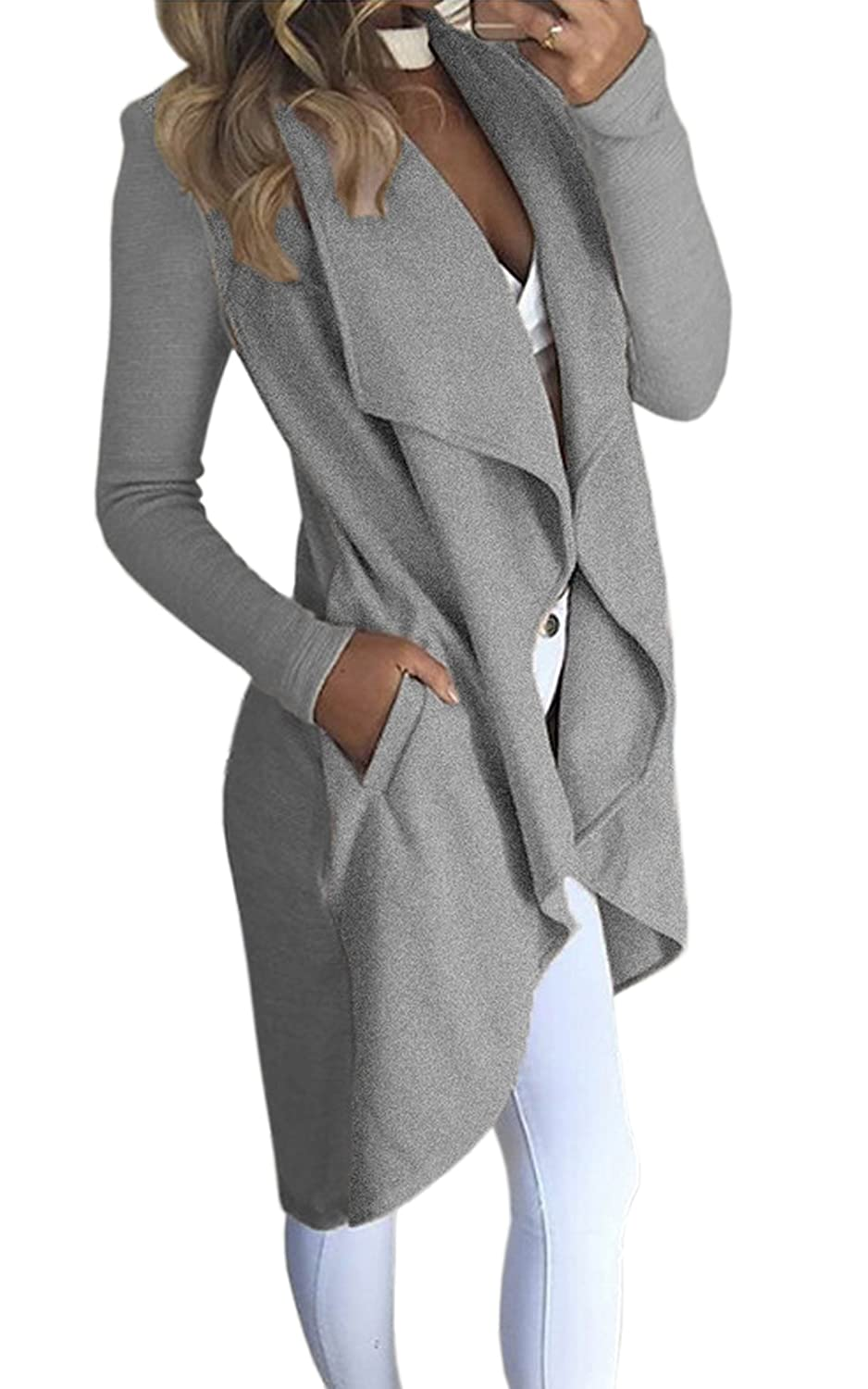 Ecowish Womens Winter Lapel Irregular Long Sleeves Jacket Open Front Cardigans Trench Coat EH534