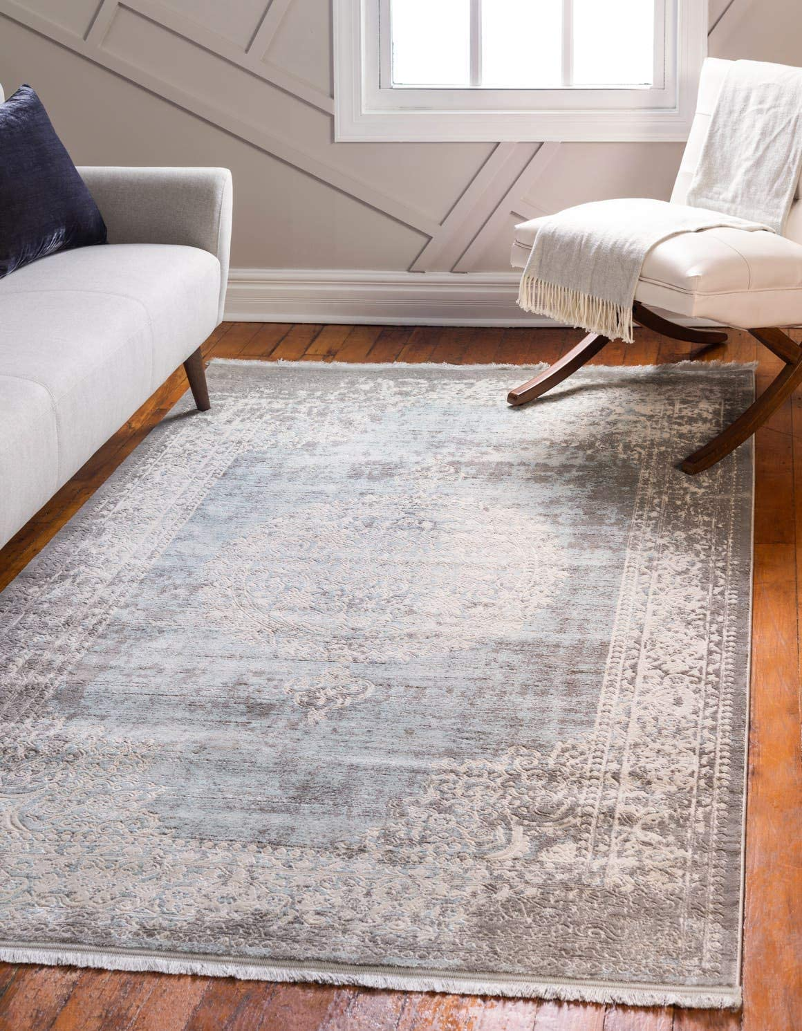 Unique Loom New Classical Collection Traditional Distressed Vintage Classic Light Blue Area Rug 9 0 x 12 0