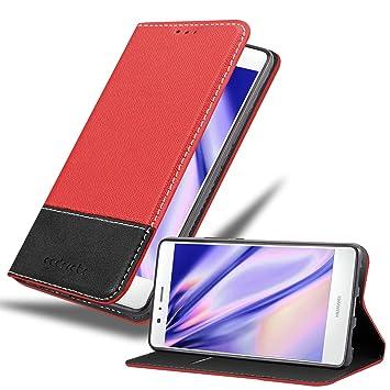 Cadorabo Funda Libro para Huawei P9 Lite en Rojo Negro ...
