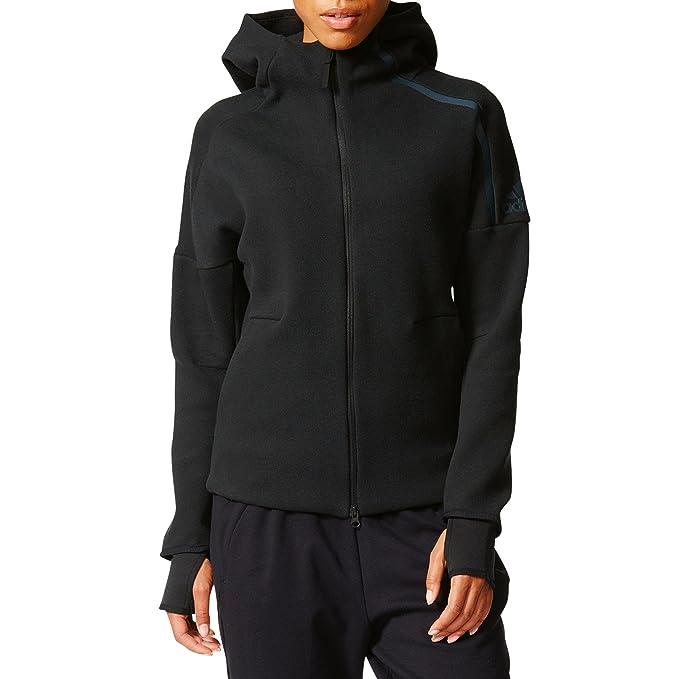 adidas z. N. E. Jacket w, felpa con cappuccio donna, bianco, l