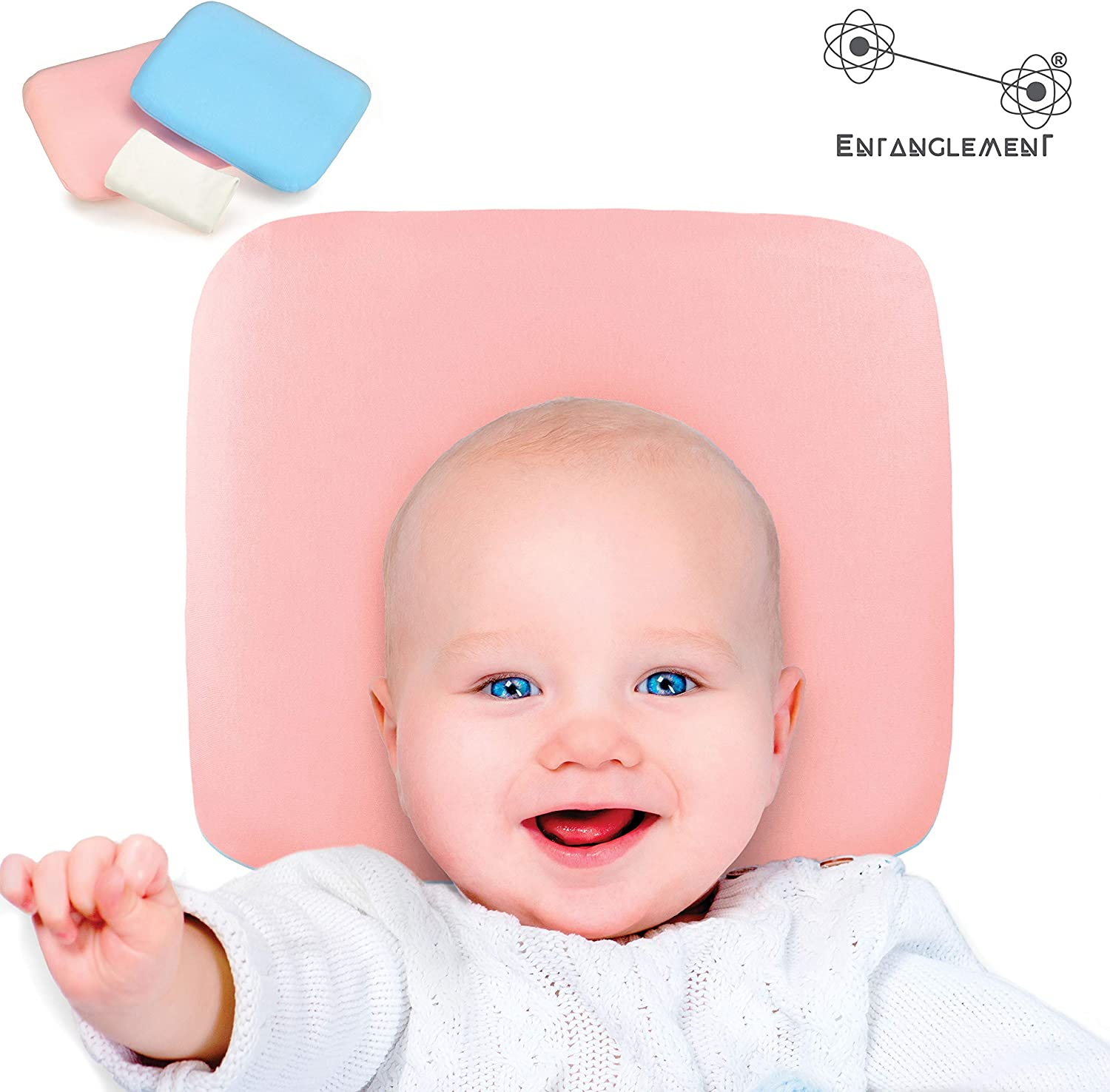 Entanglement/® 100/% natural latex antisuffocation plagiocephaly baby pillow prevents and treats flat-head syndrome detachable/&washable pillowcase in pink white pillowcase included free 100/% cotton
