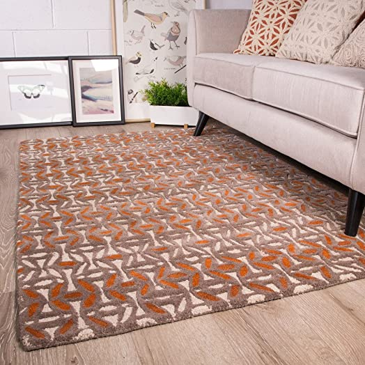 Ginger Grey Orange Terracotta Colour Pattern Living Room 100% Wool Woollen  Rug 120cm X 170cm Part 54
