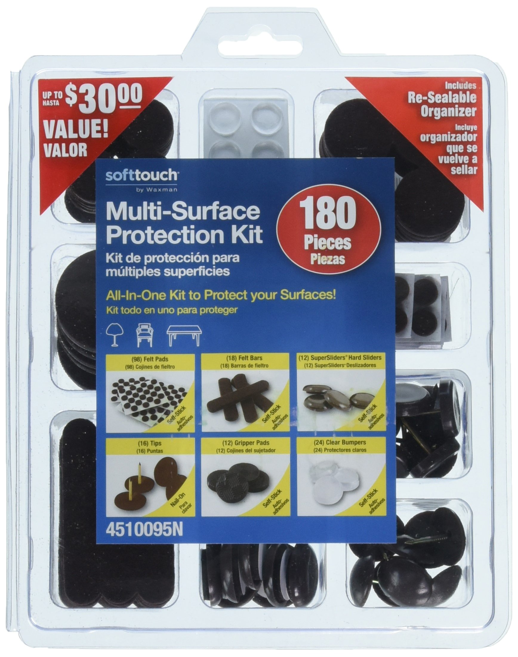 SoftTouch 4500095N Multi-Surface Hardwood & Carpet Protection Value Kit, Brown, 180 Pieces