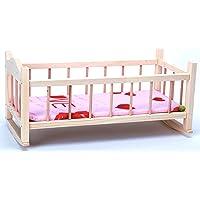 Direct Global Puppenbett aus Holz/ Holzschaukel Krippe für Puppen / Holzspielzeug / Puppen Krippe 56 cm / Puppenbett
