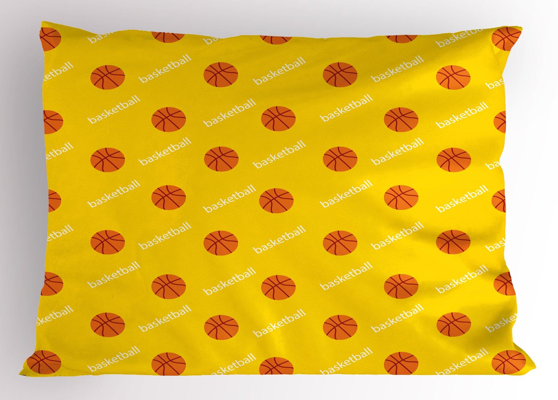 Ambesonne Basketball Pillow Sham, Athletics League Theme Balls on Yellow Backdrop Goal Fun Game Match, Decorative Standard Queen Size Printed Pillowcase, 30 X 20 inches, Yellow Orange White
