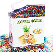 Elongdi Water Beads Pack Rainbow Mix Over 50,000 Beads Growing Balls, Jelly Water Gel Beads for Spa Refill, Kids Sensory Toy