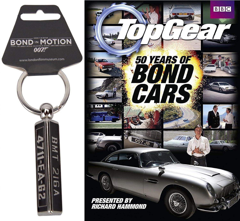Amazon Com Aston Martin 007 Top Gear Spy Pack James Bond 50 Years Of Bond Cars Goldfinger Db5 Gadget Keychain License Number Plate 2 Piece Bundle Richard Hammond Movies Tv