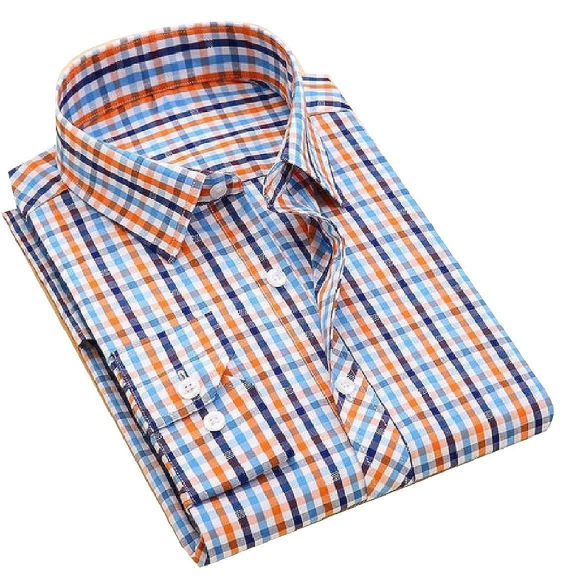 YUNY Men Cotton Classic Plaid Button Down Long-Sleeve Casual Shirt 8 XS