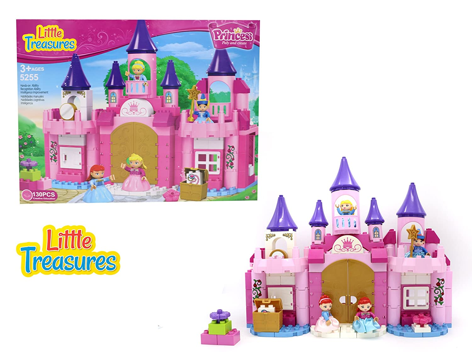Treasure Chest and Toy Flowers Little Treasures Princess Fantasy Castle Building Bricks Set for Girls with 130 Pc Including Princesses