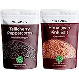Viva Doria Tellicherry Peppercorn (Whole Black) 12 oz and Himalayan Pink Salt (Coarse Grain) 2 lbs for Grinder Refills