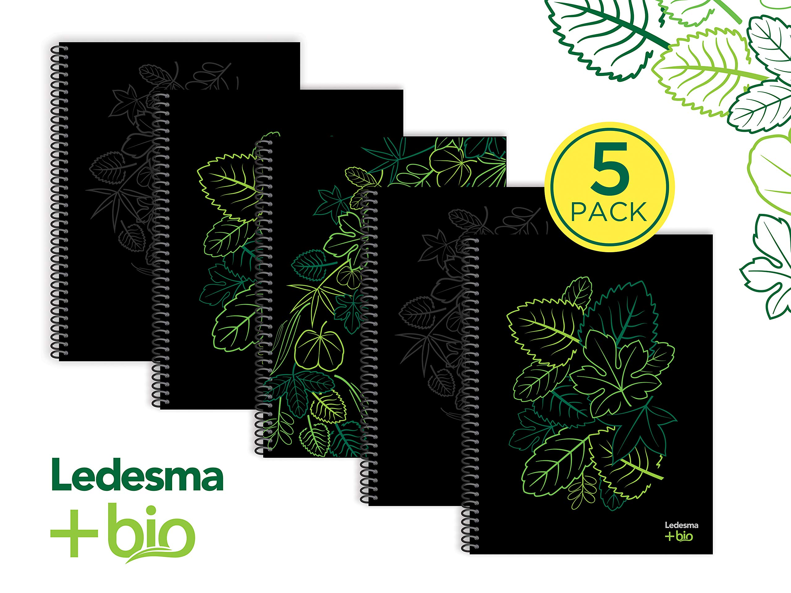 LEDESMA +BIO ECO NOTEBOOK, SUSTAINABLE, 100% SUGARCANE, BIOPLASTIC HARD COVER, NATURAL COLOR PAPER, 84 SHEETS, 8,5 X 11, PLAIN, PACK OF 5 NOTEBOOKS