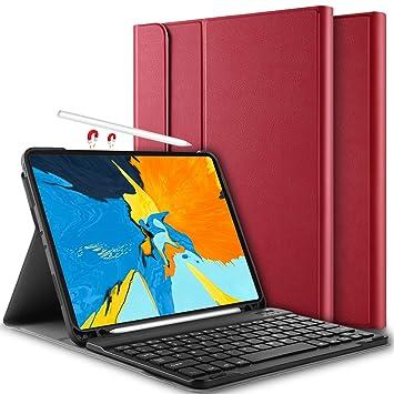 Yocktec Funda con Teclado para iPad Pro 11 2018 [QWERTY], Ultra-Delgado Desmontable Funda/Funda con Teclado Bluetooth para Apple iPad Pro 11 Pulgadas Tablet ...