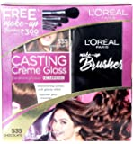 L'Oreal Paris Casting Creme Gloss Hair Color, 535 Chocolate, 87.5g+72ml With Free Makeup Brushes
