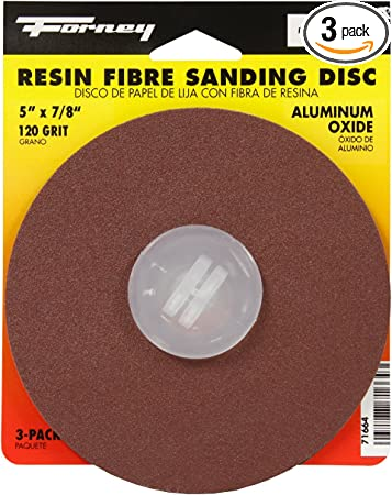 Aluminum Oxide with 7//8-Inch Arbor Forney 71666 Sanding Discs 3-Pack 4-1//2-Inch 16-Grit